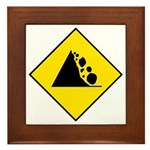 Falling Rocks Sign - Framed Tile