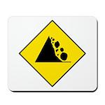 Falling Rocks Sign - Mousepad