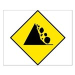 Falling Rocks Sign - Small Poster