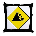 Falling Rocks Sign - Throw Pillow