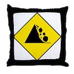Falling Rocks Sign - Throw Pillow