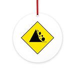 Falling Rocks Sign - Keepsake (Round)