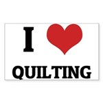 I Love Quilting Rectangle Sticker