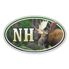 NH New Hampshire Moose oval car bumper sticker