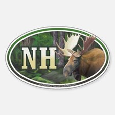 NH New Hampshire Moose oval car bumper sticker
