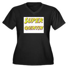 Super quintin Women's Plus Size V-Neck Dark T-Shir