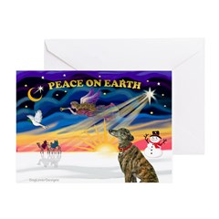 XmasSunrise/Greyhound(brin) Greeting Card