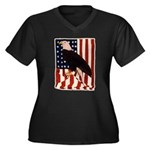 Bald Eagle and Flag Women's Plus Size V-Neck Dark