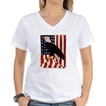 Bald Eagle and Flag Women's V-Neck T-Shirt