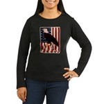 Bald Eagle and Flag Women's Long Sleeve Dark T-Shi