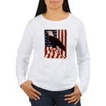 Bald Eagle and Flag Women's Long Sleeve T-Shirt