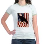 Bald Eagle and Flag Jr. Ringer T-Shirt