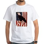 Bald Eagle and Flag White T-Shirt