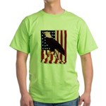 Bald Eagle and Flag Green T-Shirt