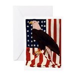 Bald Eagle and Flag Greeting Card