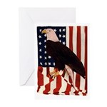 Bald Eagle and Flag Greeting Cards (Pk of 10)