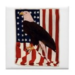 Bald Eagle and Flag Tile Coaster