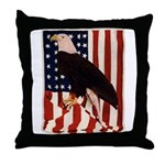 Bald Eagle and Flag Throw Pillow