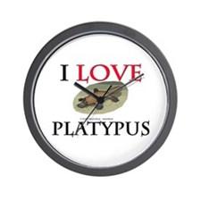 I Love Platypus Wall Clock