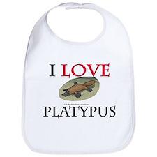 I Love Platypus Bib