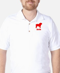 Bite Me Bulldog Lt Red Golf Shirt