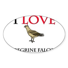 I Love Peregrine Falcons Oval Decal