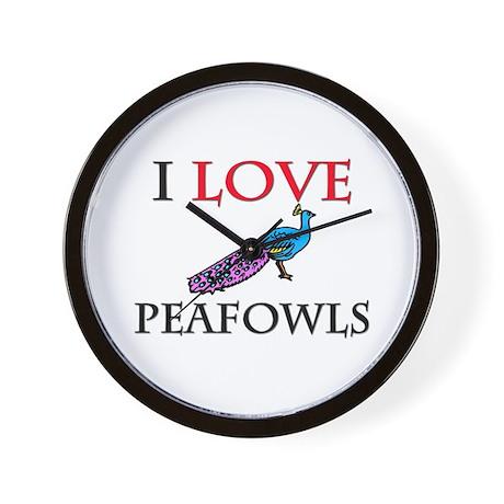 I Love Peafowls Wall Clock