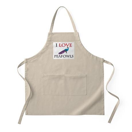 I Love Peafowls BBQ Apron