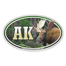 AK Alaska Moose oval car bumper sticker