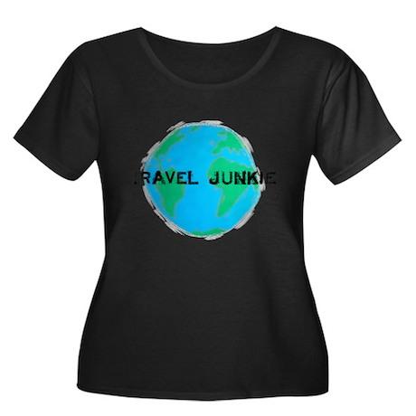 Travel Junkie Women's Plus Size Scoop Neck Dark T-