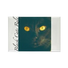 Black Cats Rule Rectangle Magnet