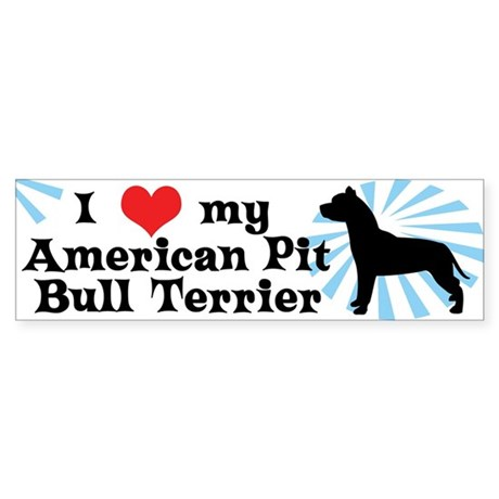 I Love My American Pit Bull Terrier Bumper Sticker