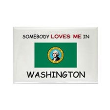 Somebody Loves Me In WASHINGTON Rectangle Magnet (