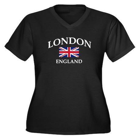 London Women's Plus Size V-Neck Dark T-Shirt