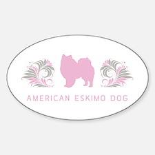 """Elegant"" American Eskimo Dog Oval Decal"