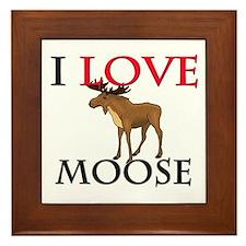 I Love Moose Framed Tile