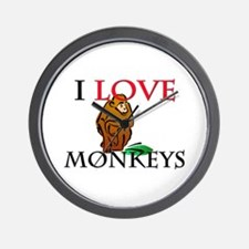 I Love Monkeys Wall Clock