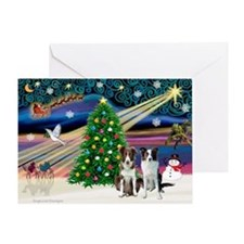 XmasSigns/2 Border Collies Greeting Card