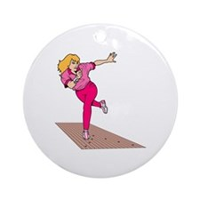 Woman Bowler Ornament (Round)