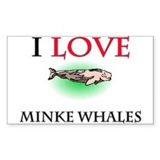 I Love Minke Whales Rectangle Decal