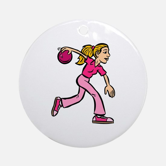 Lady Bowler In Pink Ornament (Round)