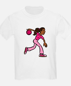 Lady Bowler In Pink T-Shirt