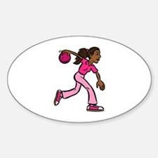 Lady Bowler In Pink Oval Decal