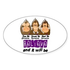 See Speak Hear No Sarcoidosis 3 Oval Decal