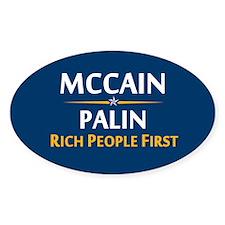 Rich People First Oval Sticker (10 pk)