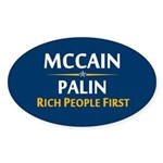 Rich People First Oval Sticker