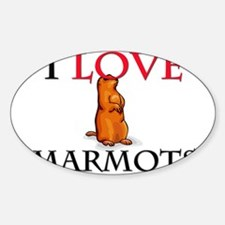 I Love Marmots Oval Decal