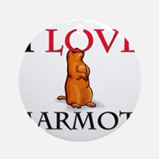 I Love Marmots Ornament (Round)