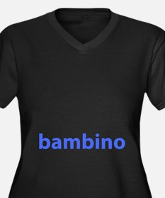 BAMBINO BABY BLUE Women's Plus Size V-Neck Dark T-