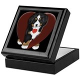 Bernese mountain dog Square Keepsake Boxes